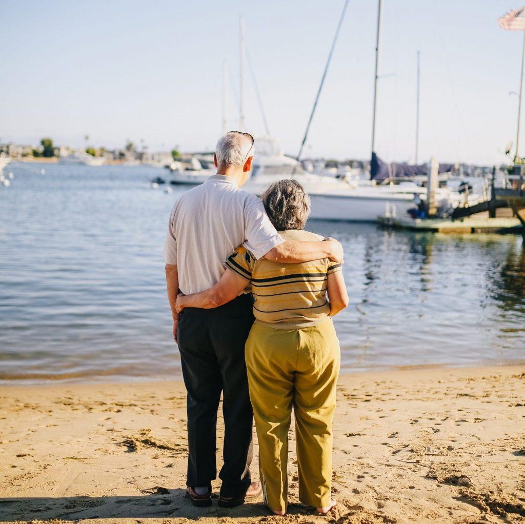 grandparents facing waterfront